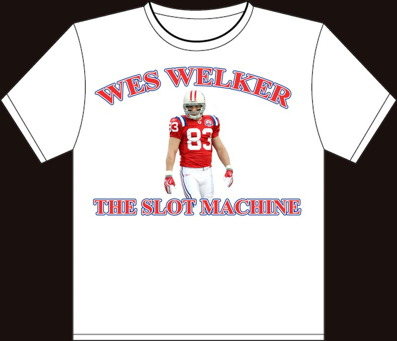 "Small White ""Wes Welker - The Slot Machine"" New England Patriots T-shirt"