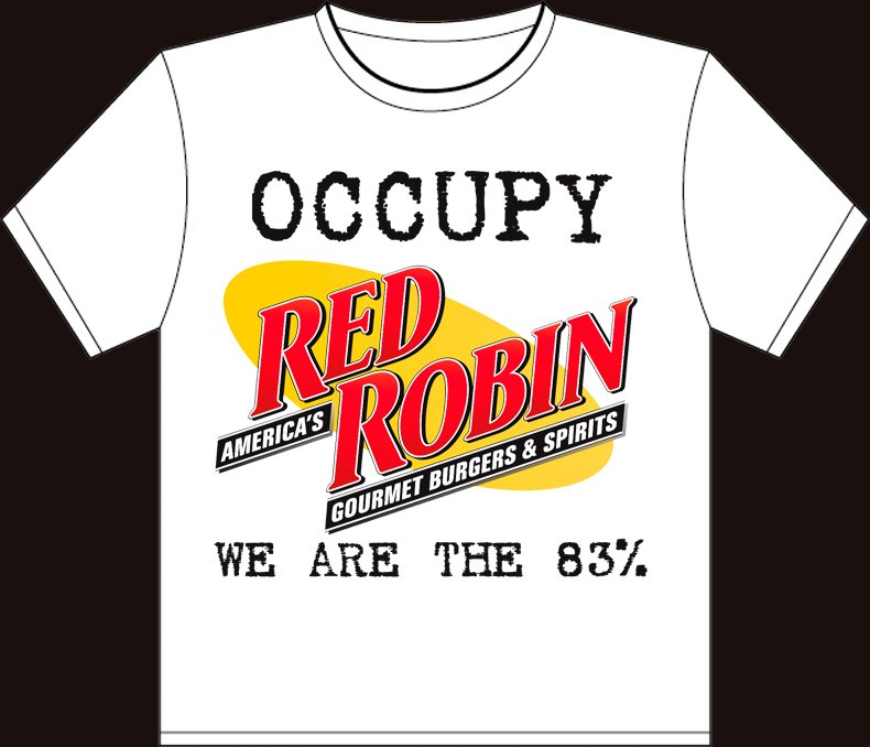 """Small - White - """"Occupy Red Robin - We are the 83%"""" South Park Wall Street T-shirt"""