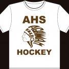 """Small - White - """"AHS Hockey"""" Agawam Hockey T-shirt"""