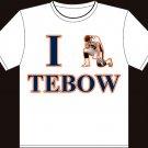 """XXL - White - """"I Heart Tebow"""" Tim Tebow Denver Broncos T-shirt"""