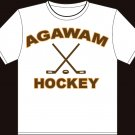 "Small - White - ""Agawam Hockey"" T-shirt w/Front and Back prints"