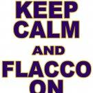 "Small - White - ""KEEP CALM AND FLACCO ON"" Joe Flacco T-shirt Baltimore Ravens"