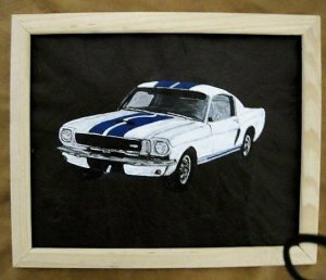 Collector's  Leather Painting Shelby GT-350 1965 Mustang Item 133