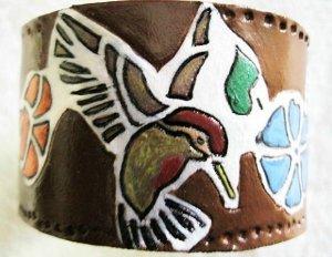 Leather Humming Bird Bracelet Hand Made Item 138