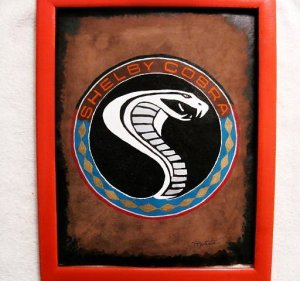 Collector's  Shelby Cobra Emblem Leather Painting Item 148