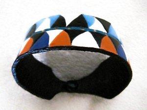 Leather Party Bracelet Hand Carved Bright & Joyful Item 150