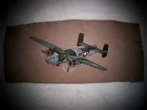 Collector's  Leather Painting Of B-25 Mitchell Bomber Item 153