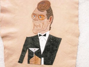 Collector's Leather Painting Of James Bond 007 Item 168