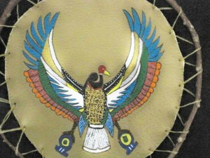 Collector's Egyptian Bird God Leather Painting Item 171