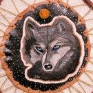 Leather Painting Of Wolf Spirit & Cedar Hoop Item 176