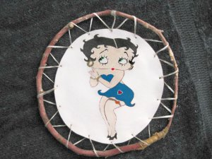 Collector's Leather Painting Of Betty Boop Maple Hoop Item 177