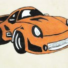 Collector's Leather Painting Of A Classic Porsche Item 180