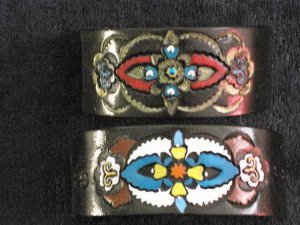 Collector's  Pair Of Gothic Leather Bracelets Item 147