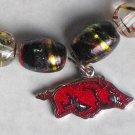 Collector's Glass Bead Arkansas Razorback Bracelet I-194