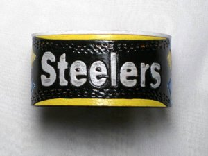 Collector's Hand Carved Pittsburg Steelers Leather Bracelet Item 203