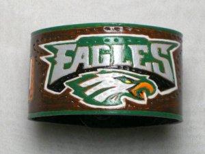 Collector's Hand Carved Philadelphia  Eagles Leather Bracelet  Item 202