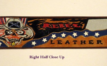 Confederate Leather Hand Carved Banner Item 218