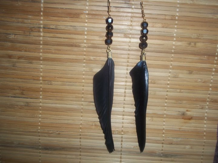 Black/ gold Feather dangles