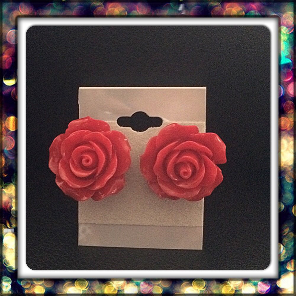 Handmade Red Rose Studs