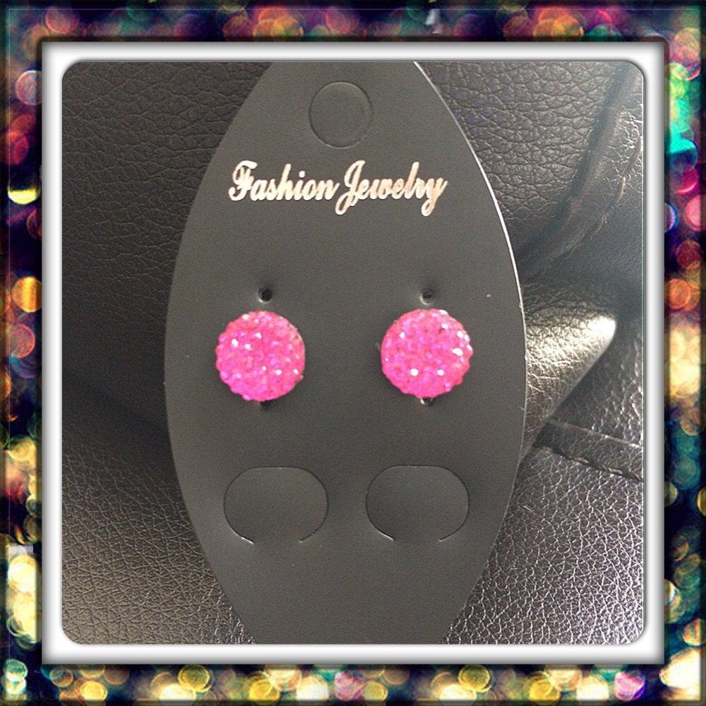 Handmade Hot pink Studs