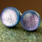 Pink on Steel Blue Dichroic Fused Glass Studs