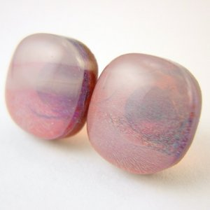 Smokey Red Dichroic Fused Glass Studs
