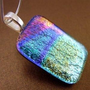 Colorburst Dichroic Fused Glass Pendant
