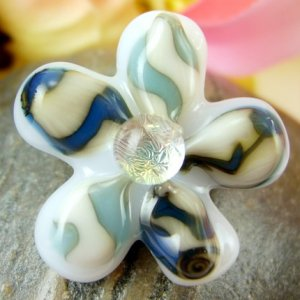 Dichroic Fused Glass Flower Pin