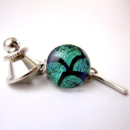 Green Dichroic Glass Tie Tack