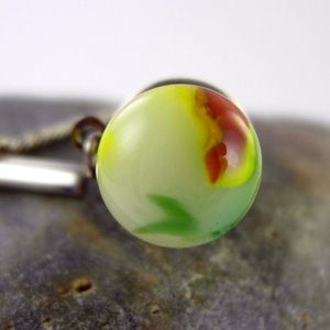 Fused Glass Tie Tack with Bar and Chain