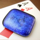 Blue-Purple Dichroic Fused Glass Poker Card Guard