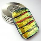 Layered Gold Dichroic Fused Glass Card Guard