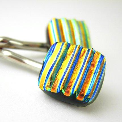 Pair of Dichroic Glass Hair Pins