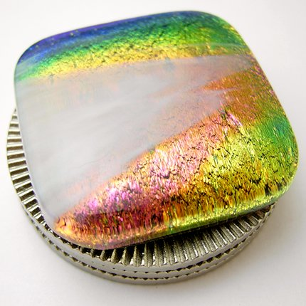 Sunset Dichroic Fused Glass Card Protector