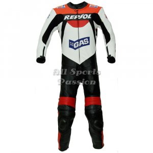 Repsol Gas Motorbike Racing Leather Suit ASP-7705