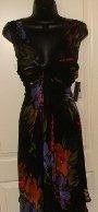 DONNA RICCO WOMEN'S BLACK/MULTI-COLOR SILK V-NECK SLEEVELESS DRESS