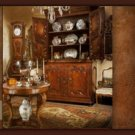 French Country Parchment China Cabinet Display Hutch