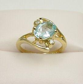 1.50ct Genuine Blue Topaz & Genuine Diamond Ring