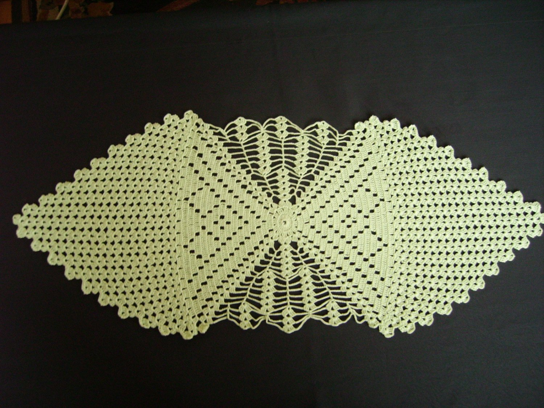Green handmade crocheted tablecloth