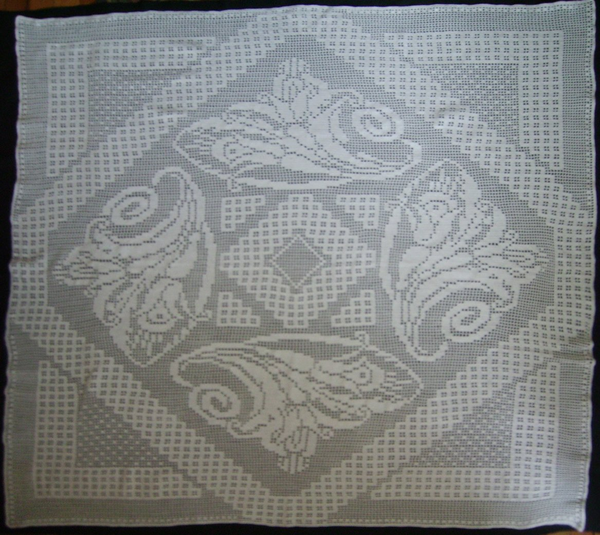 Beautiful handmade crocheted tablecloth square white