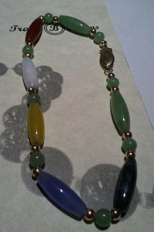 Multi Colored Jade Bracelet w/ 14K Clasp