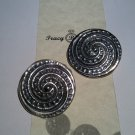 Vintage Sterling Silver Clip Button Earrings