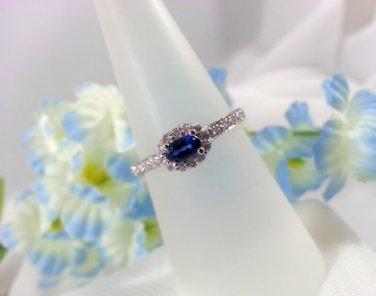 Ladies Ring Saphire Diamond Halo Style Birthstone For September