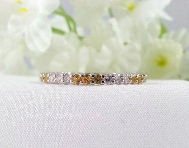 Ladies Anniversary Band Yellow Eternity Ring 14K White Gold with Sapphire Diamonds