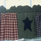 country curtain, matches shower curtian, patchwork, primative