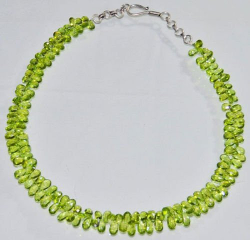 AAA Quality Beads Jewelry Necklace of Peridot Almonds