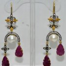 Ruby Carvings & South Sea Pearls Studded chandelier