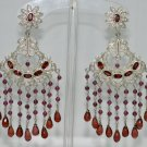 Garnet gemstone studded chandelier earrings .925 silver