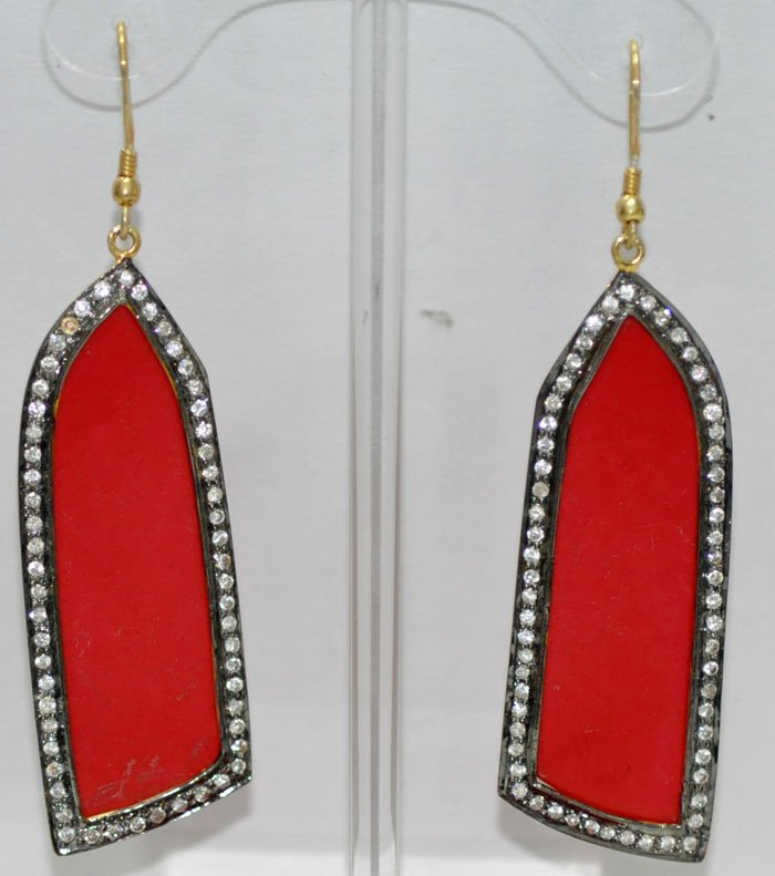 Coral stone studded chandelier earrings in .925 silver