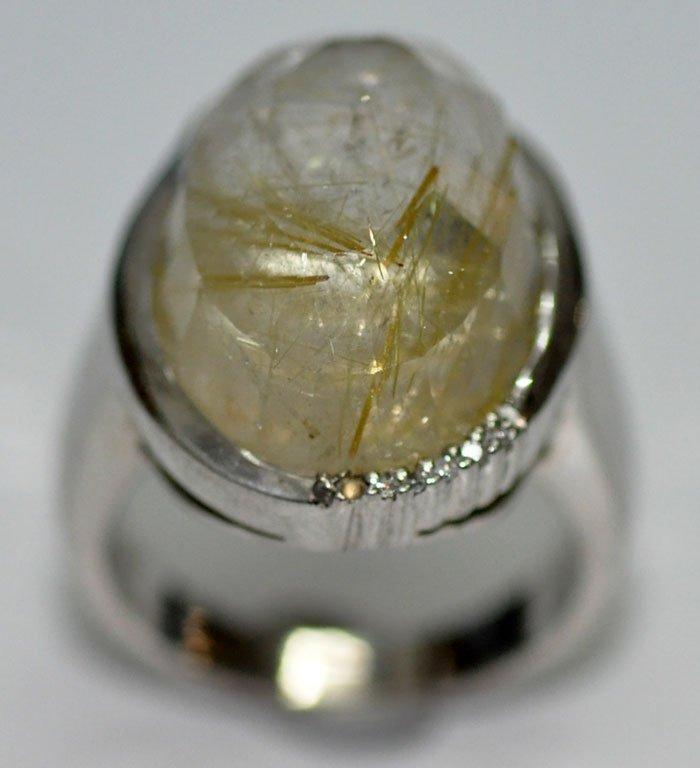 Natural Rutile Quartz Gemstone Cabochon Studded Ring